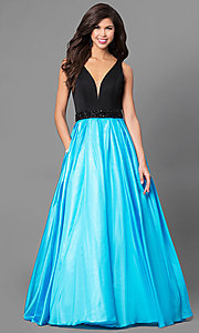 V-Neck Long Two Tone Prom Dress with Pockets
