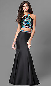 Two-Piece Beaded Top Trumpet Skirt Prom Dress