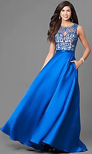 Beaded Illusion Sweetheart Long Prom Dress