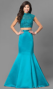 Two-Piece High Neck Beaded Top Mermaid Dress