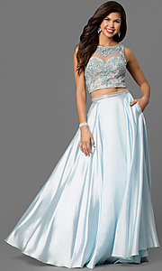 Two-Piece Prom Dress with Beaded Bodice
