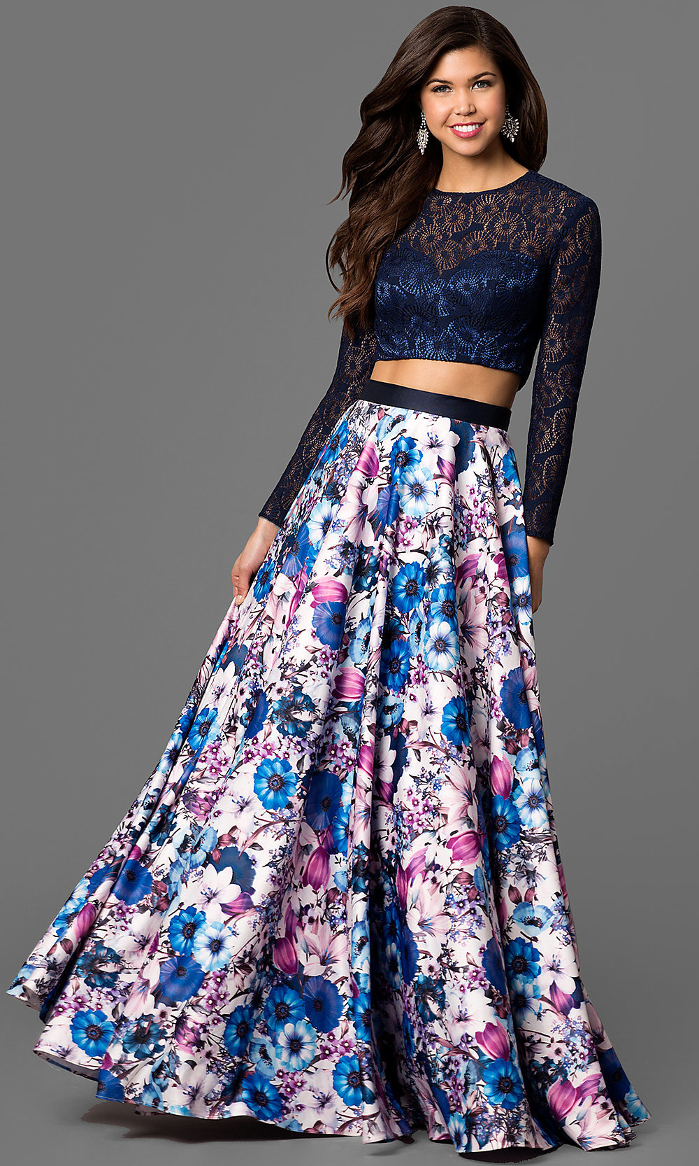 Two Piece Long Sleeve Prom Dress With Long Floral