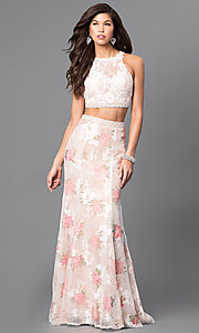 Two-Piece Lace Applique and Floral Print Long Prom Dress