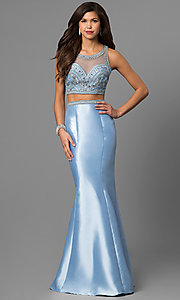 Two-Piece Trumpet Skirt Beaded Illusion Top Prom Dress