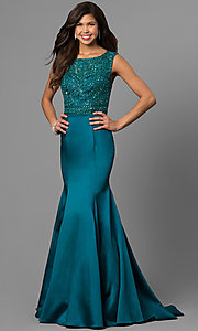 Beaded Bodice Prom Dress with Long Trumpet Skirt