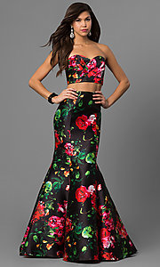 Two-Piece Strapless Mermaid Prom Dress