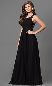 Image of long black prom dress with back cut outs and lace. Style: DMO-J316617 Front Image