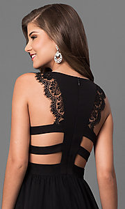 Image of long black prom dress with back cut outs and lace. Style: DMO-J316617 Detail Image 1