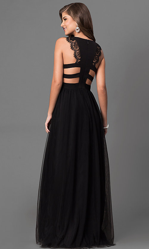 Image of long black prom dress with back cut outs and lace. Style: DMO-J316617 Back Image