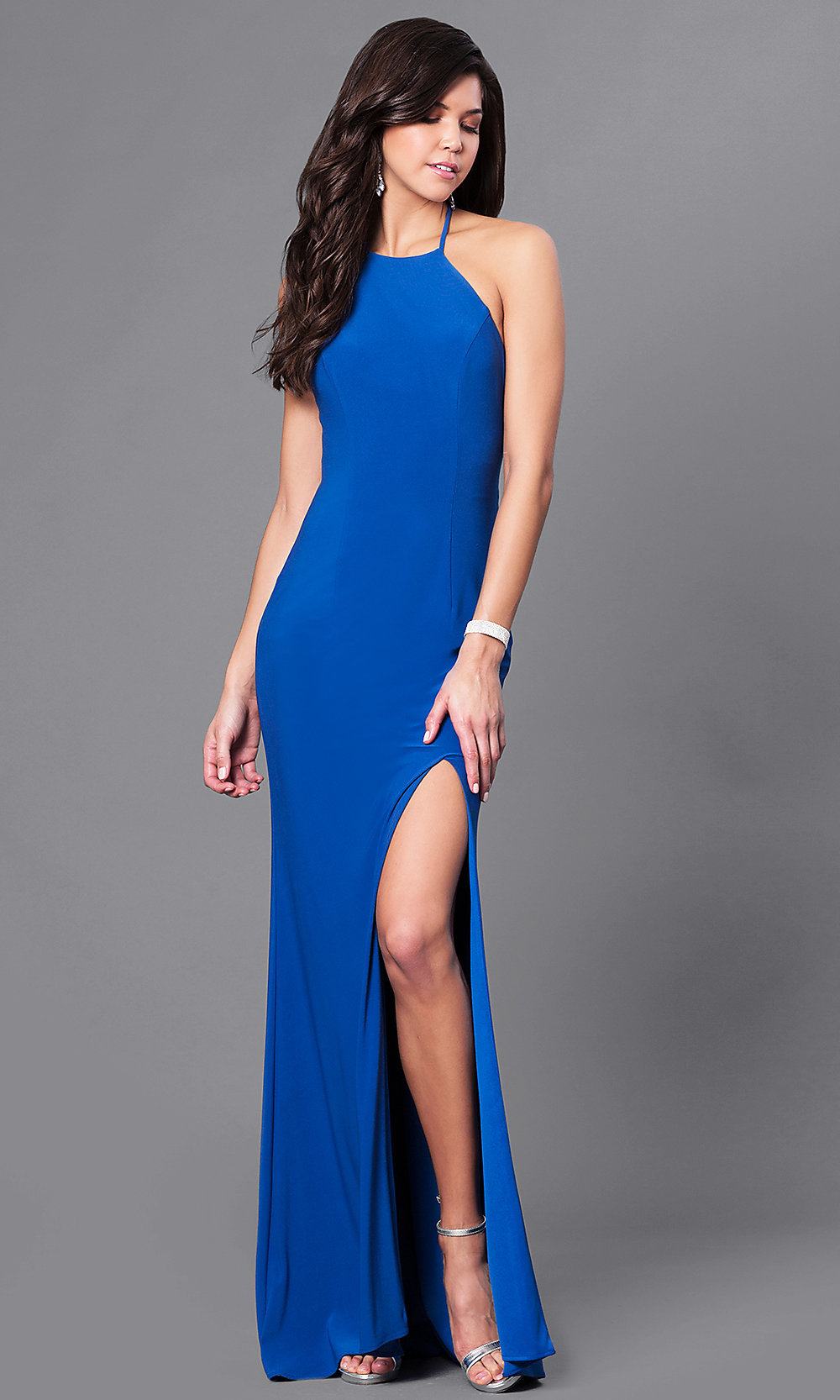 Open Back Long Prom Dress with Side Slit - PromGirl