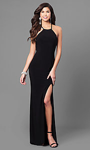 Image of high-neck prom dress with multi-strap back design. Style: CD-GL-G650 Detail Image 2