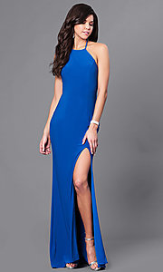 Image of high-neck prom dress with multi-strap back design. Style: CD-GL-G650 Back Image