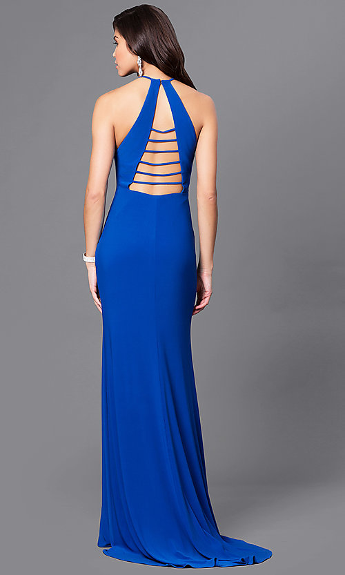 Image of high-neck prom dress with multi-strap back design. Style: CD-GL-G650 Front Image