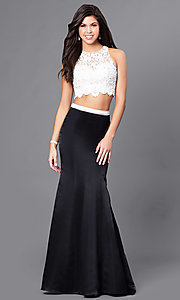 Sheer Back Long Two Piece Embroidered Prom Dress