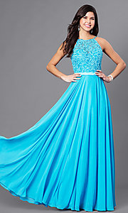 Long Prom Dress with Sweetheart Illusion High Neck