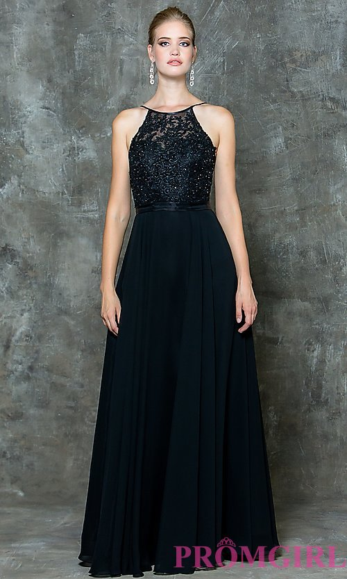 Image of long prom dress with sweetheart illusion high neck Style: CD-GL-G703 Detail Image 3