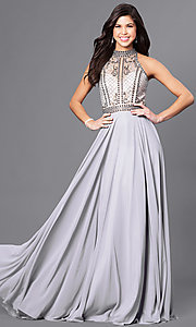 Image of high-neck long chiffon prom dress with beaded bodice. Style: CD-GL-G723 Detail Image 1