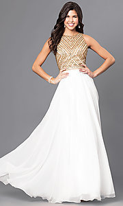 Jeweled Bodice Long Sleeveless Prom Dress