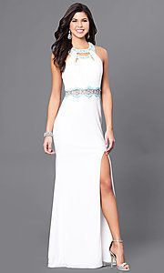 Long Sleeveless Prom Dress with Beading