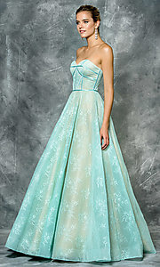 Long Strapless A-Line Lace Prom Dress