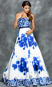 Strapless Long Royal Blue Print Prom Dress