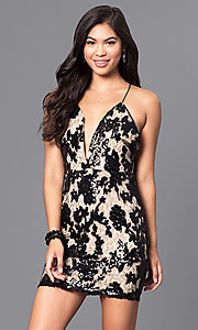 Image of short v-neck party dress with sequined lace. Style: LUX-LD3313 Detail Image 3
