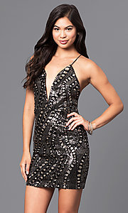 Image of short sequin holiday party dress with low v-neck. Style: LUX-LD3325 Detail Image 1