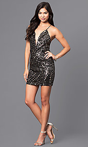 Image of short sequin holiday party dress with low v-neck. Style: LUX-LD3325 Detail Image 2