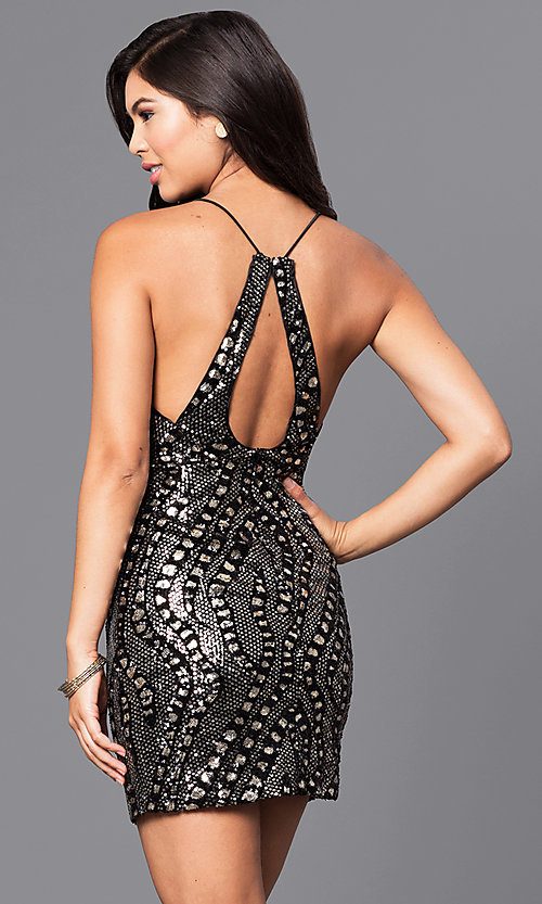 Image of short sequin holiday party dress with low v-neck. Style: LUX-LD3325 Back Image