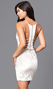 Image of velvet short v-neck party dress with cut-out sides. Style: LUX-LD3293 Back Image