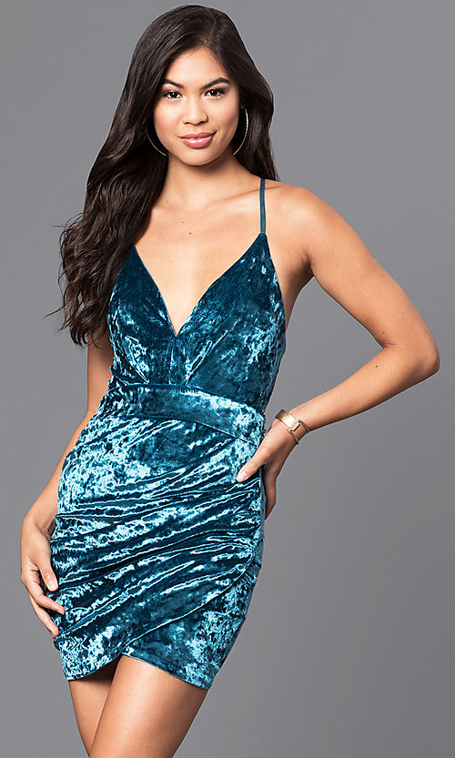Image of velvet short v-neck party dress with cut-out sides. Style: LUX-LD3293 Front Image