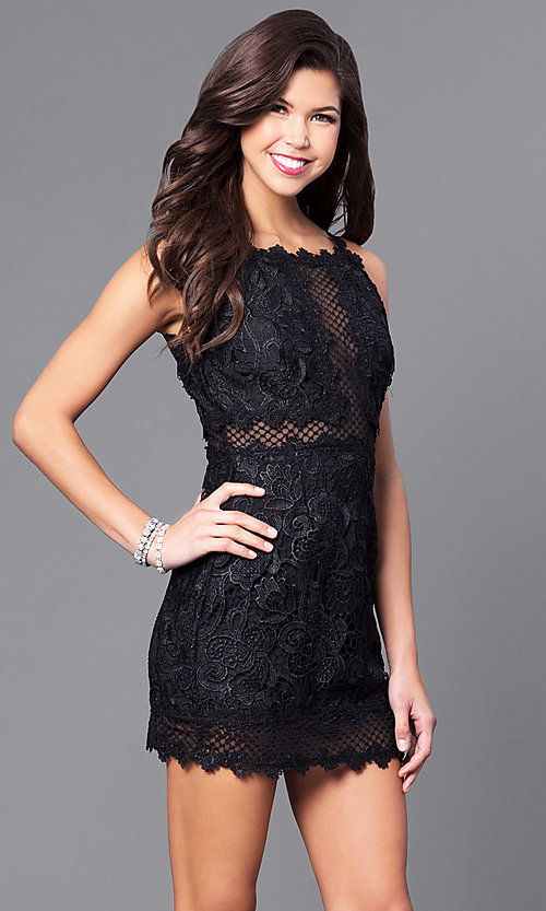 Image of short party dress with embroidered lace applique. Style: LUX-LD3402 Detail Image 3