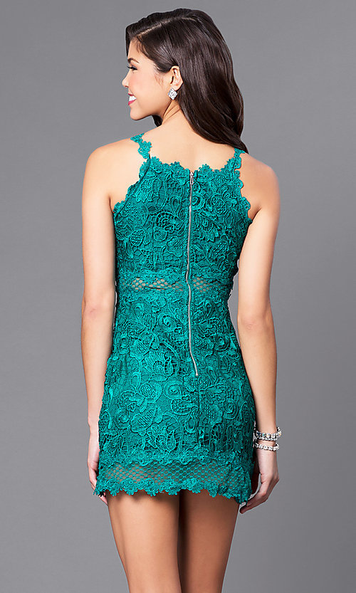 Image of short party dress with embroidered lace applique. Style: LUX-LD3402 Back Image