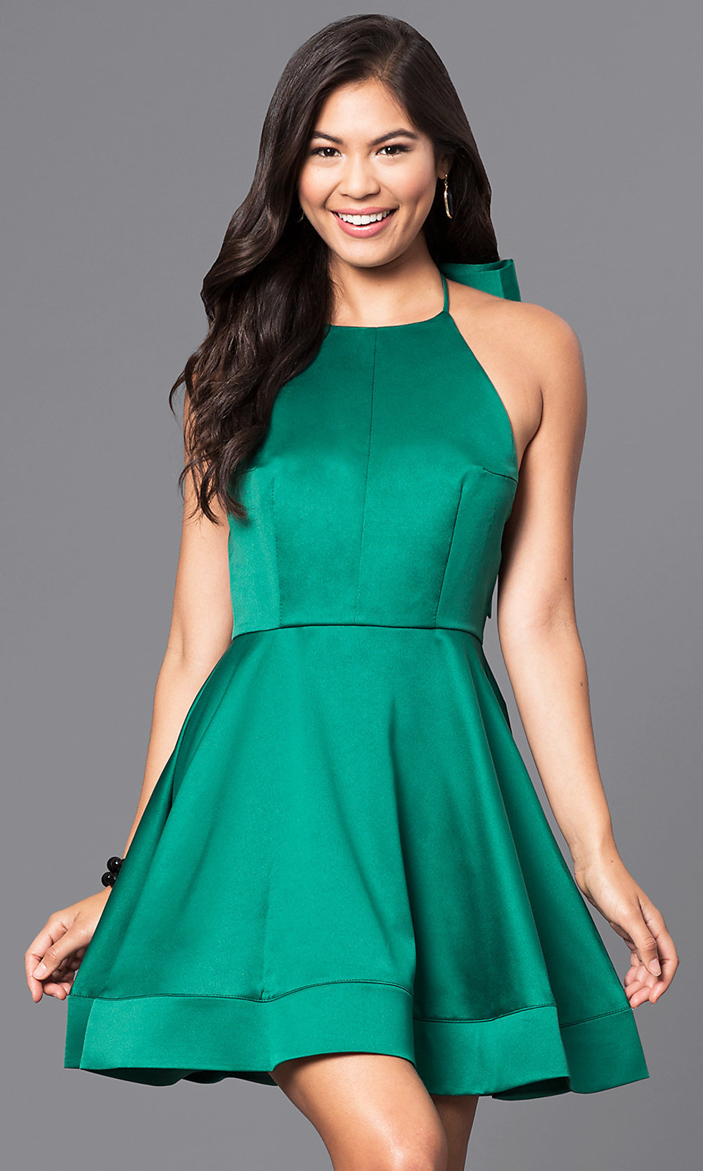 Short Halter Cheap Holiday Party Dress - PromGirl
