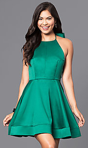Image of short halter holiday party dress with satin bow. Style: LUX-LD3388 Front Image