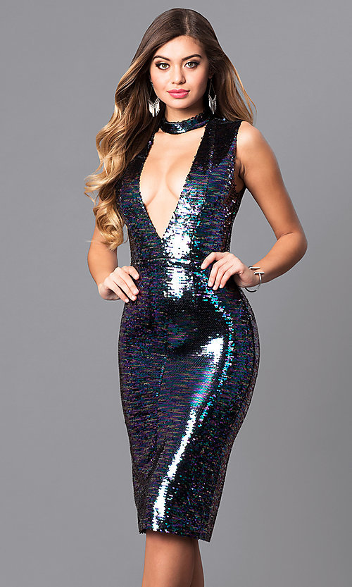 9f6adb64 Deep V-Neck Sequin Party Dress with Choker