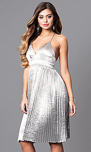 Knee Length Silver Party Dress with V-Neck