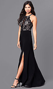 Image of long formal black prom dress with lace bodice.  Style: MO-12359 Front Image