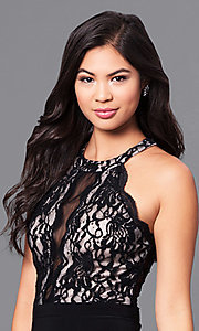 Image of long formal black prom dress with lace bodice.  Style: MO-12359 Detail Image 1