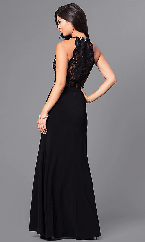 Image of long formal black prom dress with lace bodice.  Style: MO-12359 Back Image