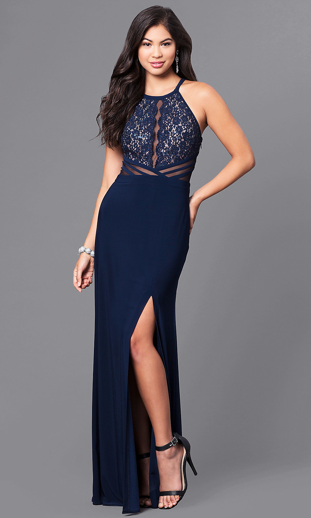 Sequined-Lace Bodice Long Blue Prom Dress - PromGirl