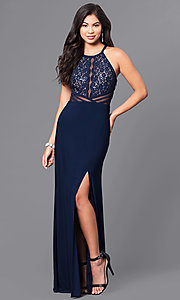 Navy Blue Long Prom Dress with Sequined Lace Bodice