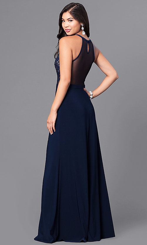 Image of navy blue long prom dress with sequined lace bodice. Style: MO-12294 Back Image