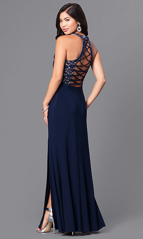 Image of navy blue long prom dress with lace bodice. Style: MO-12310 Front Image