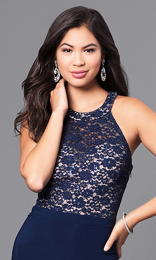 Image of navy blue long prom dress with lace bodice. Style: MO-12310 Detail Image 1