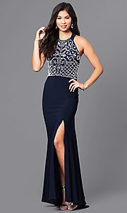 Image of long navy blue prom dress with white beaded bodice. Style: MO-12329 Front Image