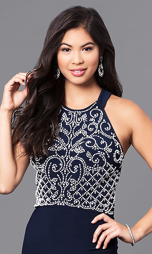 Image of long navy blue prom dress with white beaded bodice. Style: MO-12329 Detail Image 1