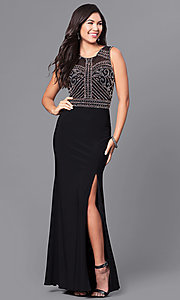 Image of long black junior prom dress with sheer back. Style: MO-12332 Front Image