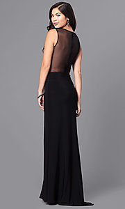 Image of long black junior prom dress with sheer back. Style: MO-12332 Back Image
