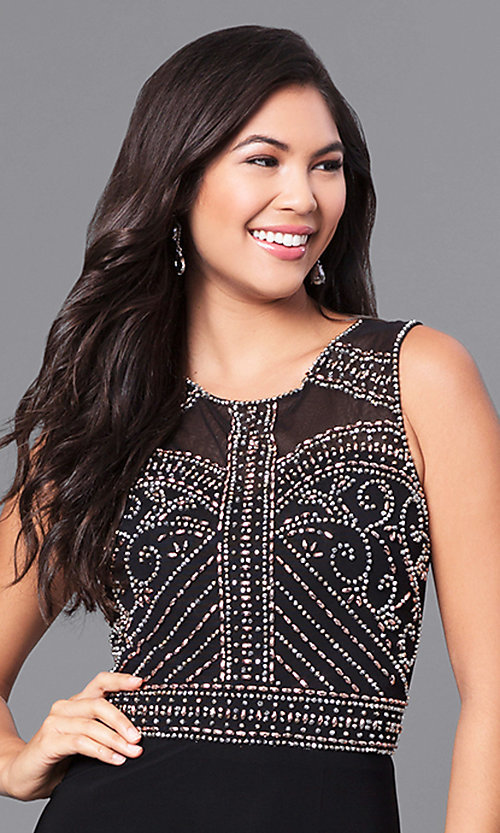 Image of long black junior prom dress with sheer back. Style: MO-12332 Detail Image 1